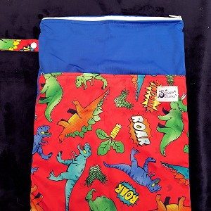 Double Pocket Medium Wetbag -Dino